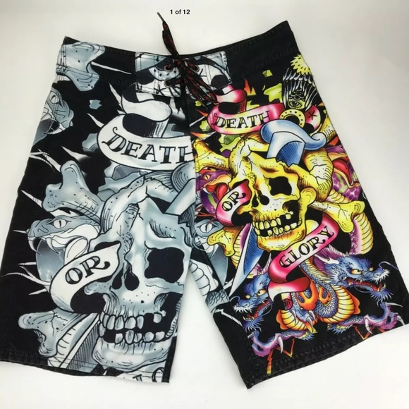 Ed Hardy Men's Surf Or Die Board Shorts Size31